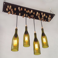 Recycled Wine Bottle Chandelier - Rustic Chandelier, Salvaged wood Lighting, Wine Corks, Edison Bulbs, Branwod
