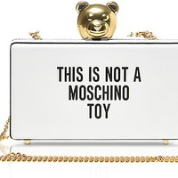 Moschino This is not a Moschino White Clutch w/Golden Teddy Bear