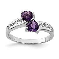 Sterling Silver Filigree Bypass Doule Amethyst Heart Ring