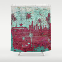 LA Dream vintage mp skyline Shower Curtain by Paula Belle Flores