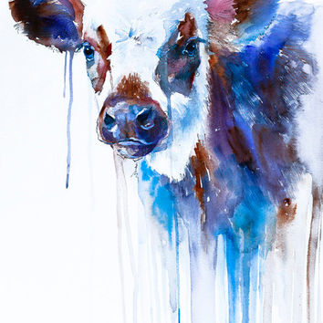 Cow watercolor painting print, animal, illustration, animal watercolor, animals paintings, animals, portrait, farm