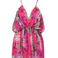 Pink Spaghetti Strap V Front Floral Print Dress Top