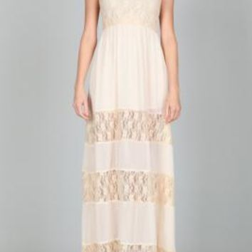 Ethereal Beings Lace Tiered Maxi Dress in Cream | Sincerely Sweet Boutique