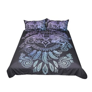 Wolves Heart by Sunima-MysteryArt - Gradient Black Feathers Boho Bedding Set