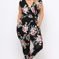 Plus Size Rosewood Cross Front Jumpsuit - Black