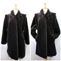 Faux Fur Coat Intrigue by Glenoit Womens Dark Grey Vegan Fur Mad Men Fashion