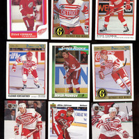 Detroit Red Wings Vintage 1986-1992 Hockey Card Lot of 9 cards,features  Steve Yzerman,Federov,Lidstrom Rookie,Free Shipping