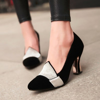 Women Pumps Rhinestone Pointed Toe High Heels Shoes Woman 3596