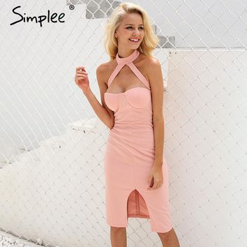 Sexy halter pink summer dress women Body con evening party dress Girls elegant club high waist