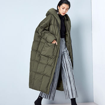 [AIGYPTOS-BC]Winter Original Design Women Ultra Loose Ultra Long Hooded 90%White Duck Down Jackets Oversized Cocoon Coats