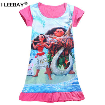 3-10Y 2017 New Cartoon Summer Children Kids Girl Vest Dress Fashion Moana Clothing Cute Design Girls Princess Dresses Nightgown