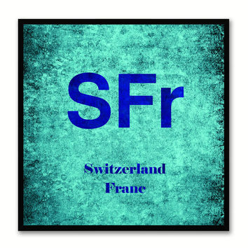 Switzerland Franc Money Currency Aqua Canvas Print with Black Picture Frame Home Decor Wall Art Collection Gifts