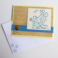 Woman by the Sea Greeting Card, Lady in Adirondack Chair, Mother's Day Card, Yellow and Blue Birthday Card, Handmade Thinking of You Card