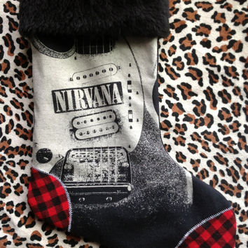 NIRVANA - Upcycled Rock Band T-shirt Christmas Stocking - OOAK