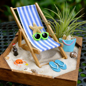 Beach Sand Box Kit ~ Beach Chair and Accessory Kit with AirPlant ~ Office Plant ~ Beach Decor ~ Beach Bag ~ Cola ~ Choice of Crab or Turtle