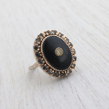 Antique Art Deco Sterling Silver Ring - Vintage Rhinestones & Onyx Black Stone 1930s Size 5 Jewelry / Deco Statement