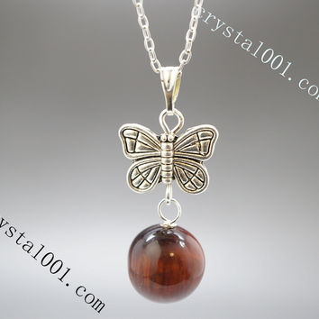 Tiger's Eye Necklace  Butterfly Necklace  Tiny Silver Yoga Necklace  Children Jewelry  Gift For Her Tiger's Eye Jewelry