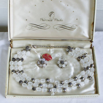 Vintage 1950's Princess Pride Beaded Jewelry Set 1950's Beaded Necklace and Earring Set Vintage Wedding Jewelry