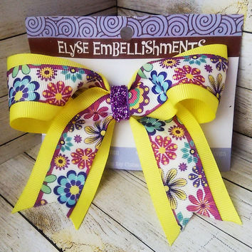 Boho Floral Mini Cheer Bow - Pastel