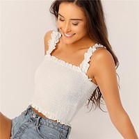 Trim Crop Shirred Top Women Clothes  Boho Stretchy Tank Tops Slim Fit Solid White Red Vest Tops