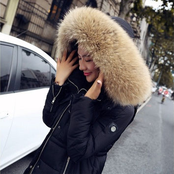 Winter Jacket Women 2015 Large Fur Collar Hooded Cotton Down Parka Female Outwear For Women's Warm Slim Jackets And Coats [8833585356]