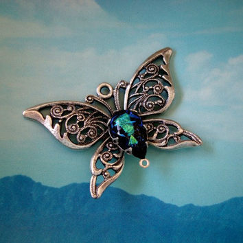 Dichroic Silver Filigree Butterfly Necklace by ParadiseFindings