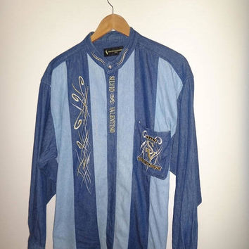 May On Sale 30% Off Rare Vintage SILVIO VALENTIO Italy Denime Long Sleeve Shirt Embroidered Stitch Baroque Shirt