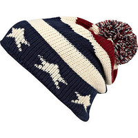 navy stars and stripes bobble beanie hat