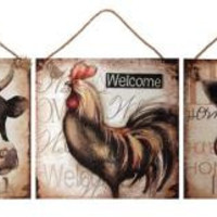"""3 Wall Art Canvases - Cow Reads  """" Family """""""