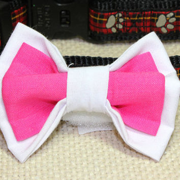 Medium White and Hot Pink Dog Bow Tie. Bright Pink and White Cotton Bowtie for Dog Collar. Fancy Wedding Pet Accessories for Boy or Girl Dog