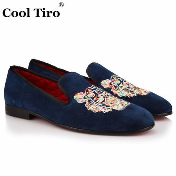 COOL TIRO New men blue Sheepskin suede embroidery Smoking Slippers Loafers