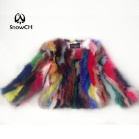 Free shipping 2017 new Genuine raccoon Fur Coat women raccoon Fur Jacket colorful fur customized big size F784A