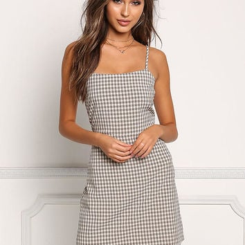 Tan Double Tie Back Gingham Shift Dress