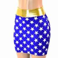Blue & White Star Wonder Woman Inspired Bodycon Mini Skirt