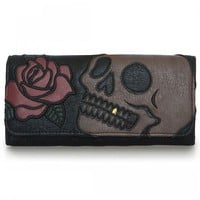 """Skull With Red Rose"" Trifold Wallet by Loungefly (Black)"