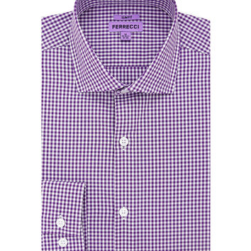 The Purple Gingham Check Slim Fit Cotton Dress Shirt