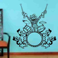 Skeleton Version 104 Drummer Drums Wall Vinyl Decal Sticker Art Graphic Sticker Sugar Skull