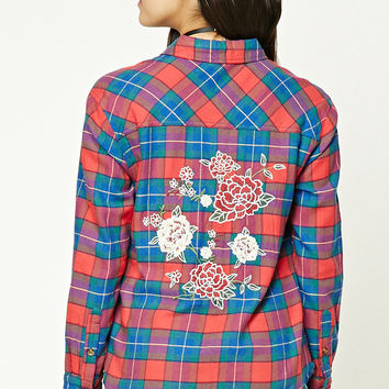 Rose Embroidered Plaid Shirt