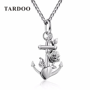 Tardoo Genuine Sterling Silver Suspension Necklaces for Women Anchor & Flower Wedding Pendant Necklaces Silver 925 Jewelry 2017