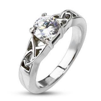 Celtic Love – FINAL SALE Round cut cubic zirconia solitaire set in a stainless steel trinity Celtic knot ring design