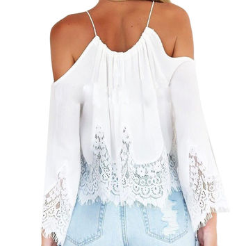 2016 New Women Crop Tops Casual Boho Lace White Off Shoulder Shirt Summer Crop Tank Tops Sexy Chiffon Blouse Plus Size S-XL W5