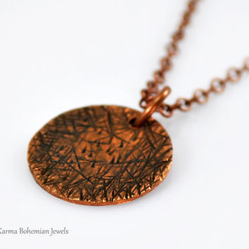Copper Textured Medallion Necklace. Circle Necklace. Hammered Necklace. Long Simple Necklace. Boho Necklace. Oxidized Necklace.