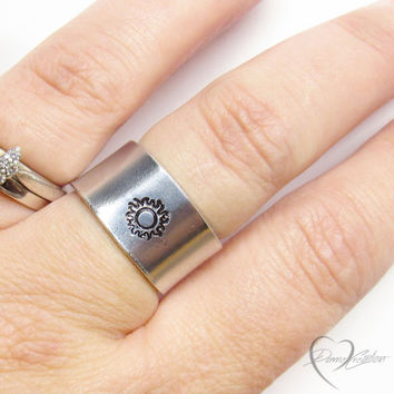 Sun Ring - Handstamped Rings - Silver Sun Ring - Sun Jewelry - Unisex Gift - Mens Gift - Gift for Her - Personalized Ring - Bohemian Ring