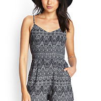 FOREVER 21 Abstract Tribal Print Romper Grey/Black