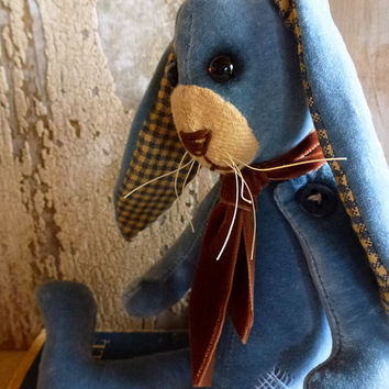 Vintage Velvet Rabbit: vintage look, soft sculpture (bunny), fabric art doll, artist bear. Perfect heirloom gift or a gift just for you!