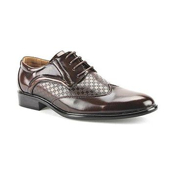 New Men's W2015-6 Checkered Wing Tip Oxford Shoes