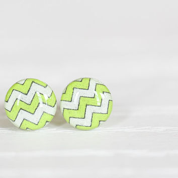 Chevron Striped Post Earrings in Chartreuse and White