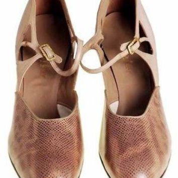 Vintage Shoes Tan/Snakeskin Leather Heel 1920s WALK OVER NIB EU 36 US 6 N