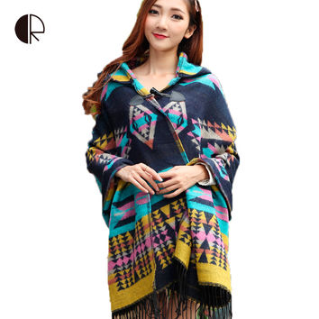 Oversized Cardigan 2015 Female Bohemia Tassel Knitted Acrylic Cardigans Kimono Plaid Cape Poncho Wool Scarf Shawl Women Lady