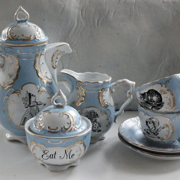 7-Piece Alice in Wonderland Blue and Gold Tea Set, Available in Pink or Green, Lewis Caroll Coffee Set, Alice Tea Party, Payment Plans